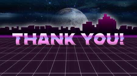 konzol : Animation of vintage video game screen with the words Thank You written in pink metallic letters appearing and disappearing on grid moving in seamless loop, moon and cityscape at night in the background. Vintage video game concept.