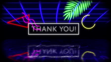 написанный : Animation of vintage video game screen with flickering words Thank You! written in glowing white neon letters in white frame with leaf, moving geometric shapes and blue glowing grid reflected in surface on black background. Vintage video game concept.