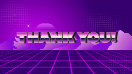 patterned : Animation of vintage video game screen with the words Thank You! written in pink and purple metallic letters appearing and disappearing on purple grid with mountains and stars on purple patterned background. Vintage video game concept.