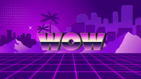 escrito : Animation of vintage video game screen with the word Wow written in pink and purple metallic letters appearing and disappearing on purple grid with mountains, palm trees, cityscape and stars on purple patterned background. Vintage video game concept.