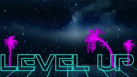 написанный : Animation of vintage video game screen with the words Level Up written in blue outlined letters appearing in neon triangle with purple glowing palm trees, clouds and stars on night sky in the background. Vintage video game concept. Стоковые видеозаписи