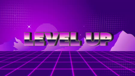 desenli : Animation of vintage video game screen with the words Level Up written in pink and purple metallic letters appearing and disappearing on purple grid with mountains and stars on purple patterned background. Vintage video game concept.