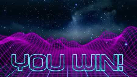 konzol : Animation of vintage video game screen with the words You Win! written in blue outlined letters appearing in neon triangle with purple grid, clouds and stars on night sky in the background. Vintage video game concept. Stock mozgókép