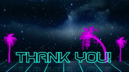 написанный : Animation of vintage video game screen with the words Thank You! written in blue outlined letters appearing in neon triangle with purple glowing palm trees, clouds and stars on night sky in the background. Vintage video game concept.