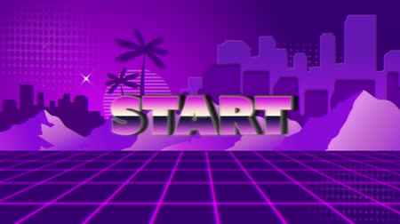 desenli : Animation of vintage video game screen with the word Start written in pink and purple metallic letters appearing and disappearing on purple grid with mountains, palm trees, cityscape and stars on purple patterned background. Vintage video game concept.