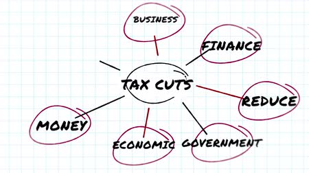 belasting : Animation of handwritten words Tax cuts, Reduce, Economic, Government, Business, Term, Money, Finance in black capital letters in hand drawn pink circles on squared paper. Politics, business and financial policy strategy planning.