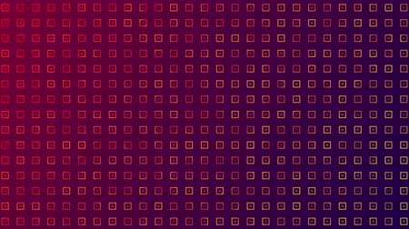 shimmer : Animation of seamless loop of rotating and turning multiple rows of yellow abstract shapes moving and changing colours in formation on gradient pink to purple background. Pattern and repetition.