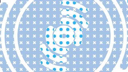 glitters : Animation of appearing and disappearing multiple blue and white squares, crosses, spirals and geometric shapes in repetition on cube patterned background. Pattern and replacement.