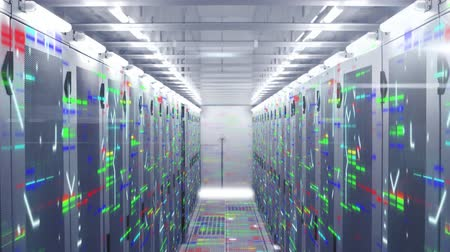 поставщик : Animation of data processing and digital information flowing through network of computer servers in a server room with multi coloured light trails flashing on surface. Global network of internet service provider or data processing centre concept. Стоковые видеозаписи