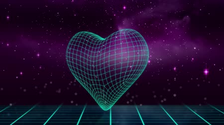 фасонный : Animation of glowing blue outline of triangle appearing with heart shaped mesh on blue grid with stars, sky and pink clouds in the background. Digitally generated 3d glowing shape. Стоковые видеозаписи