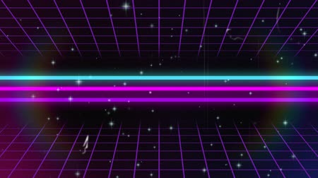 hale : Animation of multiple white glowing stars spots of light moving fast on black background with glowing horizontal lines, rainbow coloured halo and purple mesh on top and bottom. Digitally generated light movement.