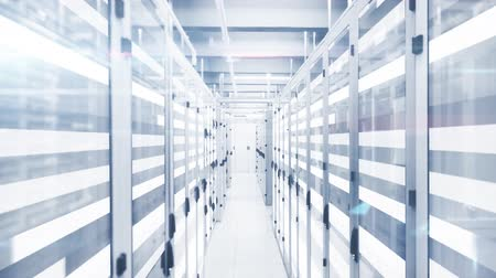 provider : Animation of data processing and digital information flowing through network of computer servers in a server room with white light trails flashing on surface. Global network of internet service provider or data processing centre concept.