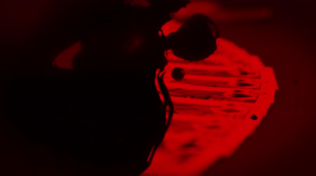 megtöltött : Animation of playing cards being arranged on table filled with red light with black drops falling in slow motion in the foreground. Multilayered film sequence concept digitally generated. Stock mozgókép