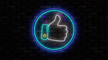 hoşlanmak : Animation of illuminated blue circle neon sign with moving thumbs up like icon flickering on black brick wall in the background. Social media and internet communication concept digitally generated image.