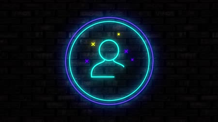 segno più : Animation of illuminated blue circle neon sign with moving person friend icon flickering on black brick wall in the background. Social media and internet communication concept digitally generated image.