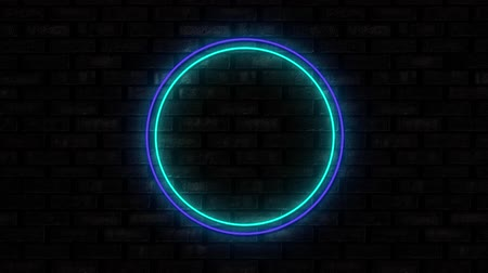 неон : Animation of illuminated blue circle neon sign flickering on black brick wall in the background. Social media and internet communication concept digitally generated image. Стоковые видеозаписи