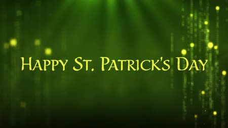 patron : Animation of the words Happy St. Patricks Day written in green letters, green sparkling firework flying, spotlight and shimmering spots of light on green background. Celebration of Irish culture concept digitally generated image. Stock Footage