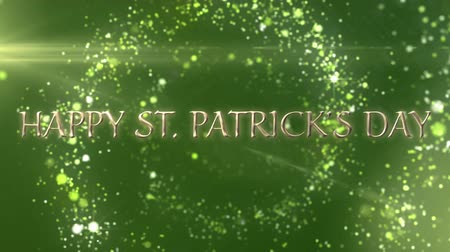 patron : Animation of the words Happy St. Patricks Day written in golden letters, green sparkling spots of light flying in circles on green background. Celebration of Irish culture concept digitally generated image.