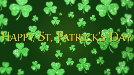 patron : Animation of the words Happy St. Patricks Day written in green letters, with multiple green shamrock clover leaves flying up on green background. Celebration of Irish culture concept digitally generated image.