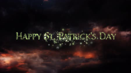 patron : Animation of the words Happy St. Patricks Day written in sparkling letters, with multiple green and yellow fireworks exploding on sky with clouds at night in the background. Celebration of Irish culture concept digitally generated image.