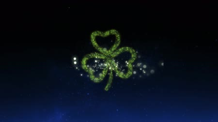 patron : Animation of St Patricks Day multiple green and yellow fireworks exploding with glowing green shamrock clover leaf on sky with stars at night in the background. Celebration of Irish culture concept digitally generated image.