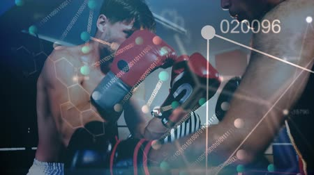 bokser : Animation of data processing and statistics recording with two male athlete boxers sparring punching with their coach watching their progress in the background. Global sport and technology statistics data processing concept digital composite.