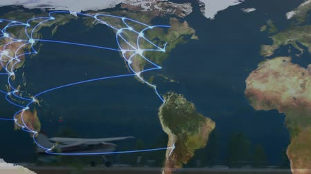 no traffic : Animation of global network of connections and data processing on world map with aeroplane landing in the airport in the background. Global connections travel concept digital composite.