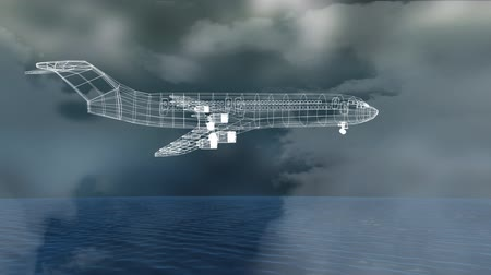 no traffic : Animation of 3d technical drawing of model of aeroplane in white outline spinning with blue grid, clouds and sky in the background. Global connections travel engineering concept digitally generated image.