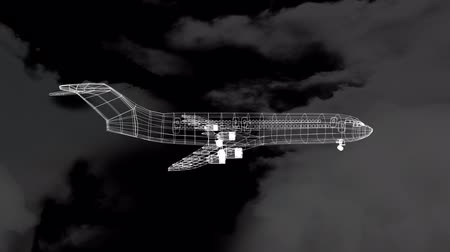 no traffic : Animation of 3d technical drawing of model of aeroplane in white outline spinning, clouds and sky in the background. Global connections travel engineering concept digitally generated image.