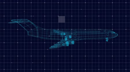 étendue : Animation of 3d technical drawing of model of aeroplane in blue outline spinning with white grid and scope scanning on dark blue background. Global connections travel engineering concept digitally generated image.