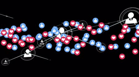 hoşlanmak : Animation of network of connections with icons, multiple digital heart and like icons flying up on black background. Digital network of global connections social networking business concept digitally generated image.