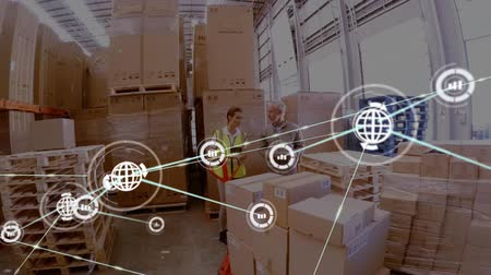 összekapcsol : Animation of network of connections with globe and statistics icons, digital data processing with busy warehouse workers in the background. Digital network of global connections networking business concept digital composite.