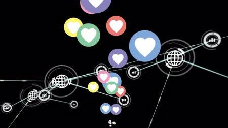 hoşlanmak : Animation of network of connections with globe and statistics icons, multiple digital heart and like icons flying up on black background. Digital network of global connections social networking business concept digitally generated image.
