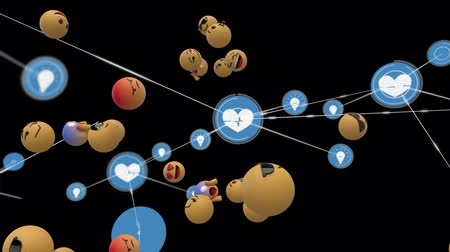 lol : Animation of network of connections with heart icons, digital data processing, group of emoji icons flying up on black background. Digital network of global connections social networking business concept digitally generated image. Stock Footage