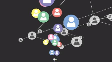 representação : Animation of network of connections with icons, multiple digital colourful icons flying up on grey background. Digital network of global connections social networking business concept digitally generated image.