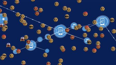 risonho : Animation of network of connections with music and smartphone icons, digital data processing, group of emoji icons floating on blue background. Digital network of global connections social networking business concept digitally generated image.