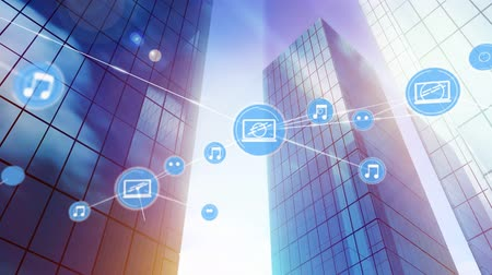 data cloud : Animation of network of connections with music and digital tablet icons, digital data processing on modern office buildings in the background. Digital network of global connections networking business concept digital composite. Stock Footage
