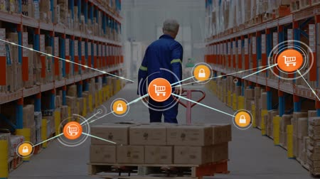 troli : Animation of network of connections with online security and online shopping trolley icons, digital data processing with busy warehouse worker in the background. Digital network of global connections networking business concept digital composite. Stock mozgókép