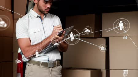 busy line : Animation of network of connections with people and share icons, digital data processing with busy male warehouse worker holding clipboard next to a van full of boxes for delivery in the background. Digital network of global connections networking busines
