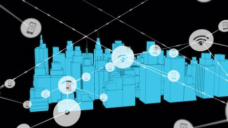 social change : Animation of network of connections with wifi reception and smartphone icons, digital data processing with 3d architectural model of modern city with office buildings and skyscrapers in the background. Digital network of global connections networking busi Stock Footage
