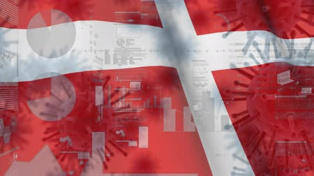 danimarka : Animation of multiple macro corona virus spreading with charts and statistics and Danish national flag billowing in the background. Global health warning scare spreading infections concept digitally generated image.