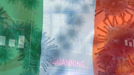 irsko : Animation of multiple macro corona virus spreading with charts and statistics and ireland national flag billowing in the background. global health warning scare spreading infections concept digitally generated image. Dostupné videozáznamy