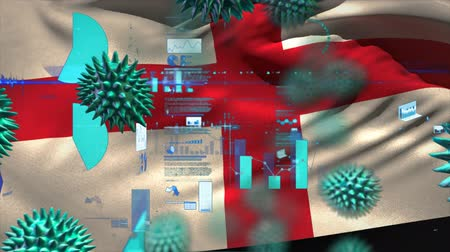 organizma : Animation of multiple macro corona virus spreading with charts and statistics and English national flag billowing in the background. Global health warning scare spreading infections concept digitally generated image.