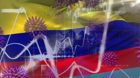 uyarmak : Animation of multiple macro corona virus spreading with charts and statistics and Colombian national flag billowing in the background. Global health warning scare spreading infections concept digitally generated image.