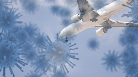 organizma : Animation of multiple grey macro corona virus spreading and floating with low angle view of a flying airplane against blue sky in the background. Global health warning scare spreading infections concept digital composite. Stok Video