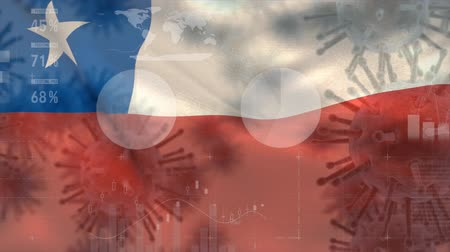 organizma : Animation of multiple macro corona virus spreading with charts and statistics and Chilean national flag billowing in the background. Global health warning scare spreading infections concept digitally generated image. Stok Video