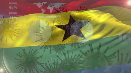 organizma : Animation of multiple macro corona virus spreading with charts and statistics and Ghanaian national flag billowing in the background. Global health warning scare spreading infections concept digitally generated image.