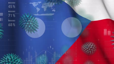 tcheco : Animation of multiple macro corona virus spreading with charts and statistics and Czech Republic national flag billowing in the background. Global health warning scare spreading infections concept digitally generated image.