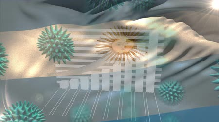 organizma : Animation of multiple macro corona virus spreading with charts and statistics and Argentinian national flag billowing in the background. Global health warning scare spreading infections concept digitally generated image.