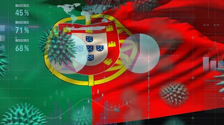 organizma : Animation of multiple macro corona virus spreading with charts and statistics and Portuguese national flag billowing in the background. Global health warning scare spreading infections concept digitally generated image. Stok Video